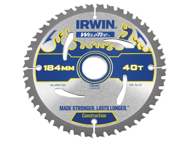 IRWIN WELDTEC CIRCULAR SAW BLADE 184 X 30MM X 40T ATB
