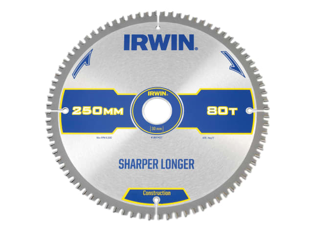 IRWIN CONSTRUCTION MITRE CIRCULAR SAW BLADE 250 X 30MM X 80T ATB/NEG