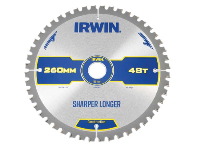 IRWIN CONSTRUCTION MITRE CIRCULAR SAW BLADE 260 X 30MM X 48T ATB/NEG