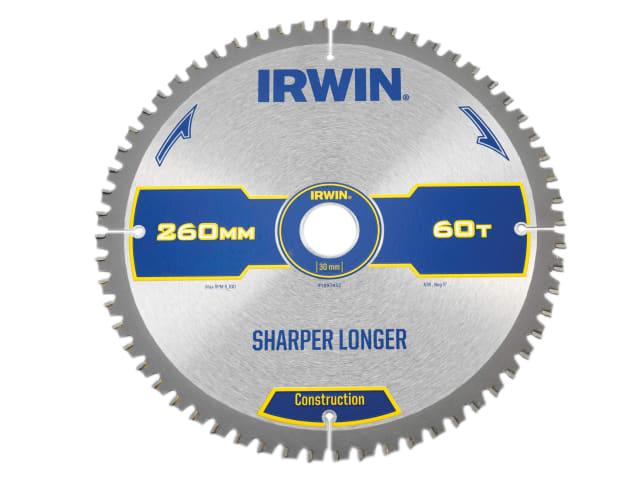 IRWIN CONSTRUCTION MITRE CIRCULAR SAW BLADE 260 X 30MM X 60T ATB/NEG