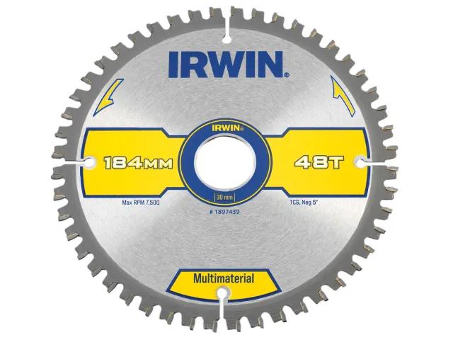 IRWIN CIRCULAR SAW BLADE 184 X 30MM X 48T MULTI MATERIAL TCG/NEG