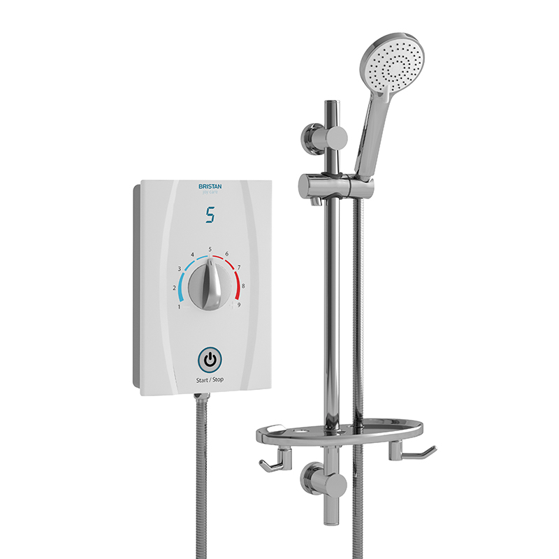 BRISTAN JOY CARE THERMOSTATIC ELECTRIC SHOWER 9.5KW WHITE (STANDARD RISER RAIL) - JOYTHC95 W