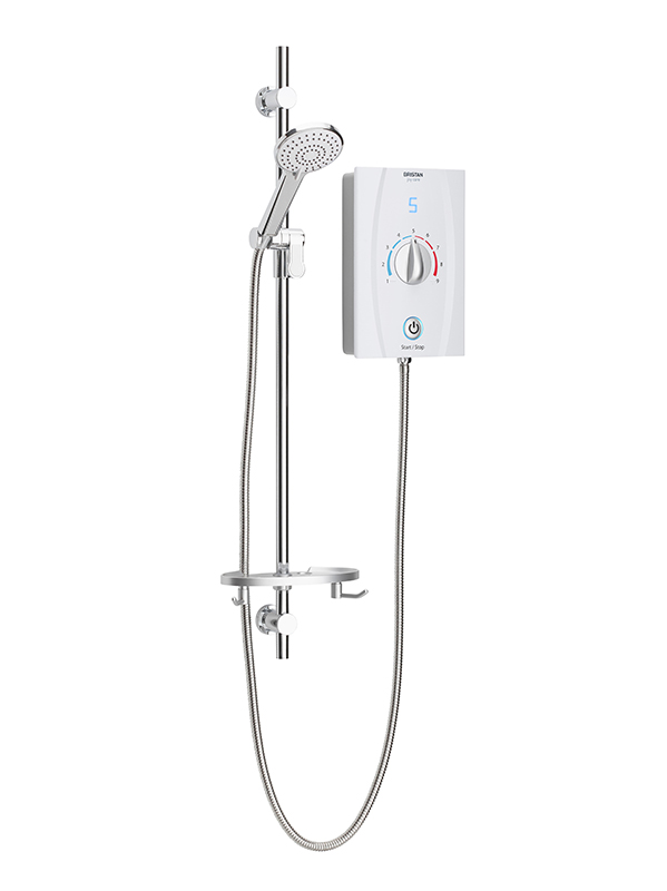 Bristan Joy Care Thermostatic Electric Shower 8.5kW White (1 Metre Riser Rail)