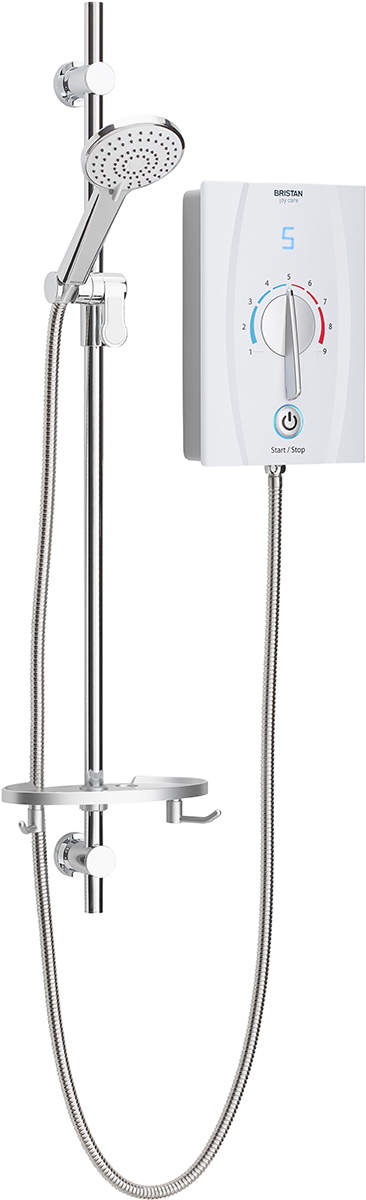 Bristan Joy Care Thermostatic Electric Shower 8.5kW White (1 Metre Riser Rail & Easy Handle Dial)