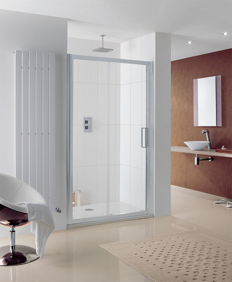 Lakes Coastline Talsi Slider Shower Door 1000mm - Silver