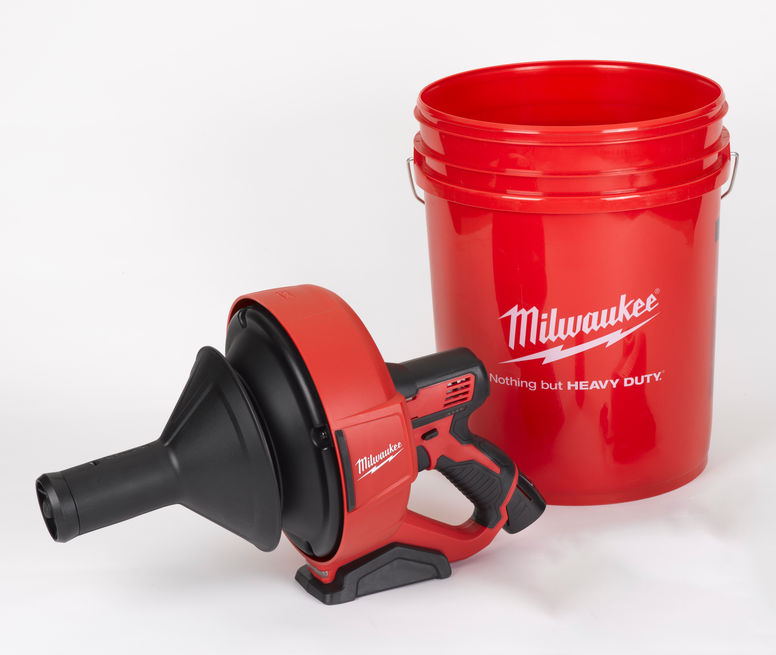 Milwaukee M12BDC8 12V Brushless Sub Compact Drain Cleaner (Auger) with Spiral Diameter 8mm - Body & Bucket