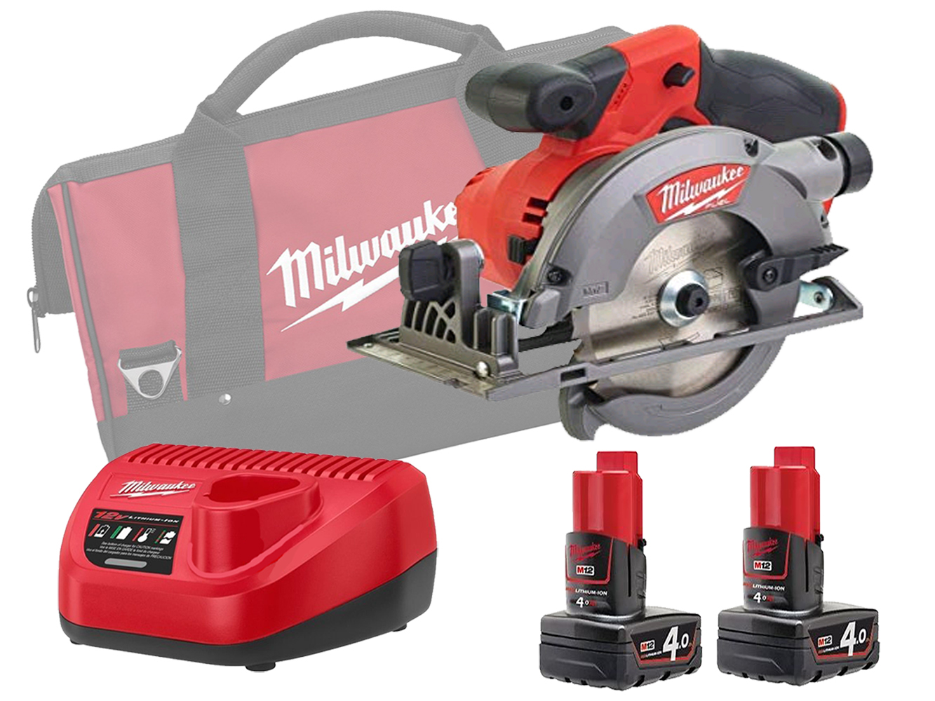 Milwaukee M12CCS44 12V Sub Compact 140mm (44mm) Circular Saw Brushless - 4.0ah Pack