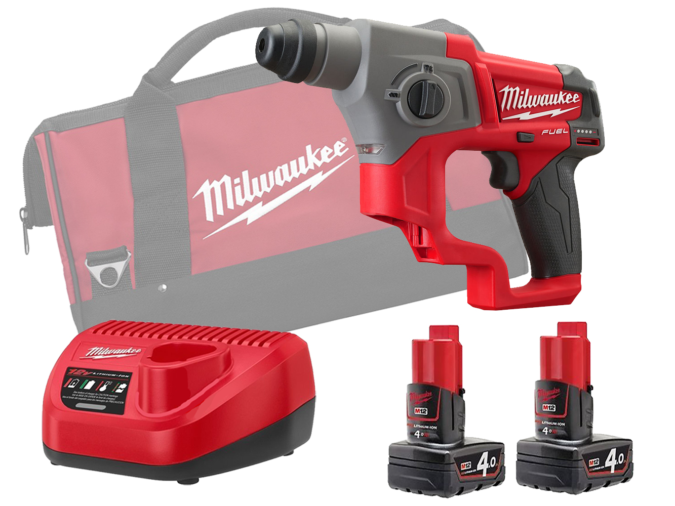 Milwaukee M12CH 12V Fuel SDS Plus 2 Mode Hammer - 4.0Ah Pack