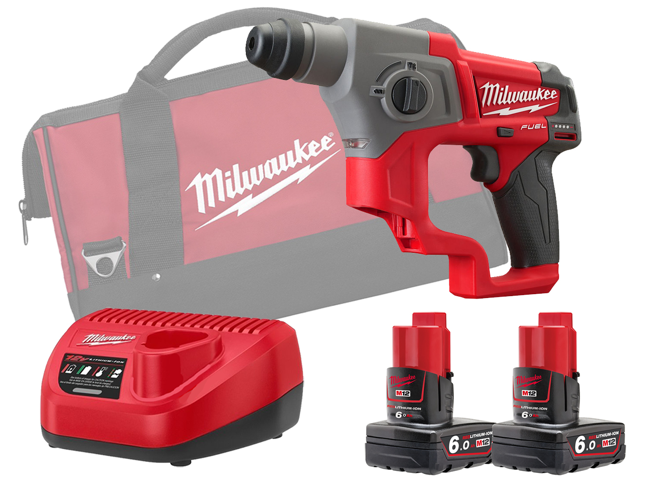 MILWAUKEE 12V FUEL SDS 2 MODE HAMMER -  M12CH - 6.0AH PACK