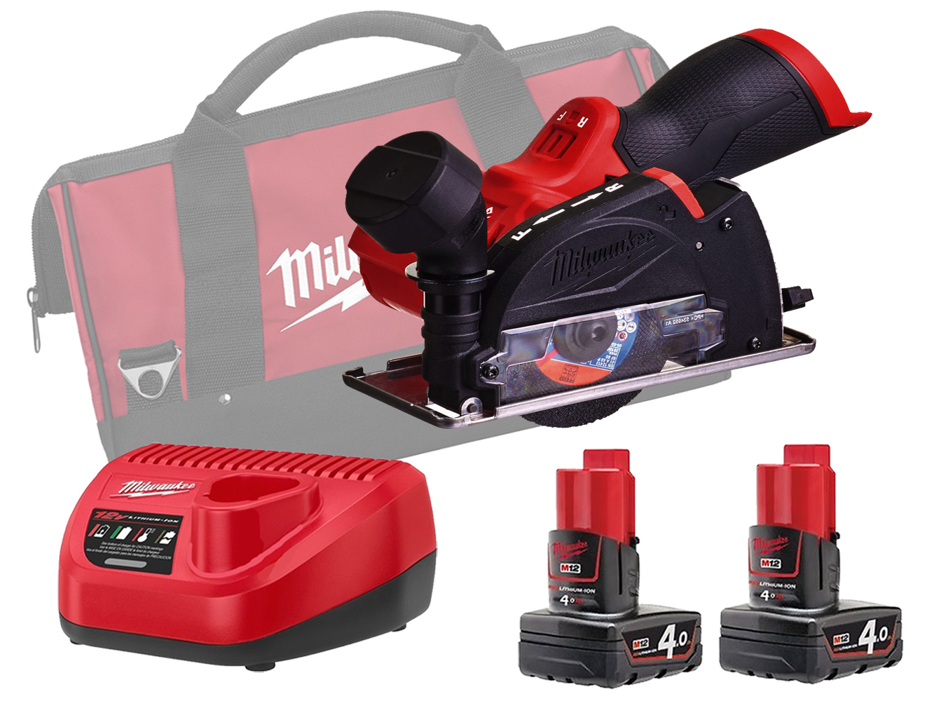 Milwaukee M12FCOT 12V FUEL Sub Compact Multi-Material Cut-Off Tool - 4.0ah Pack