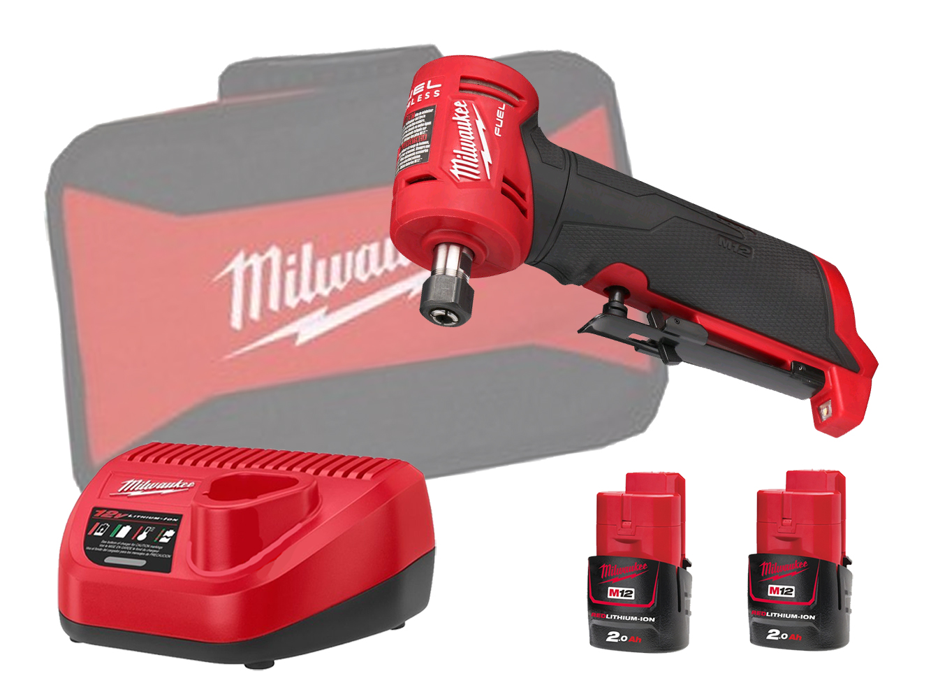 Milwaukee M12FDGA 12V FUEL Brushless Angled Die Grinder - 2.0ah Pack