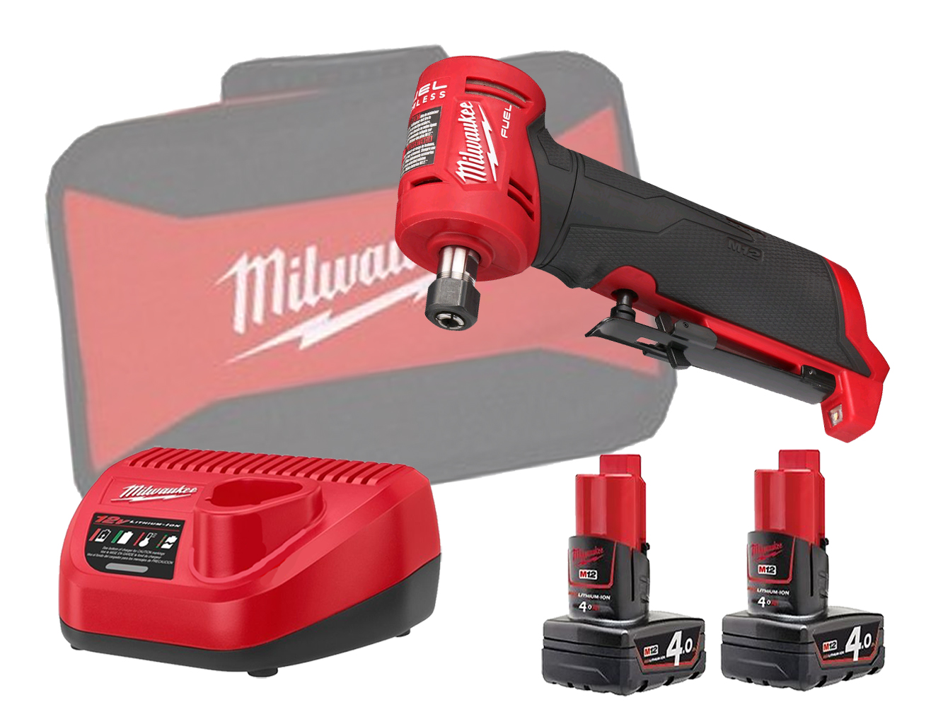 Milwaukee M12FDGA 12V FUEL Brushless Angled Die Grinder - 4.0ah Pack