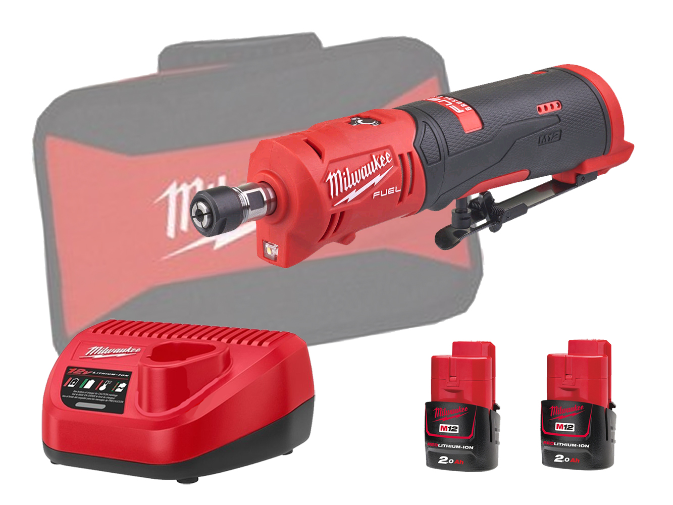 Milwaukee M12FDGS 12V Fuel Brushless Straight Die Grinder - 2.0Ah Pack