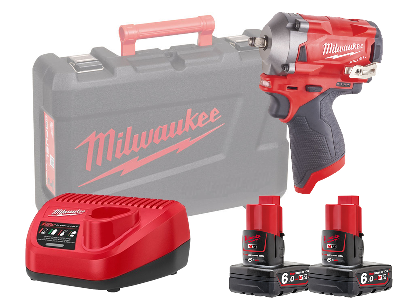 Milwaukee M12FIW38 12V Fuel Compact Impact Wrench 3/8In - 6.0Ah Pack