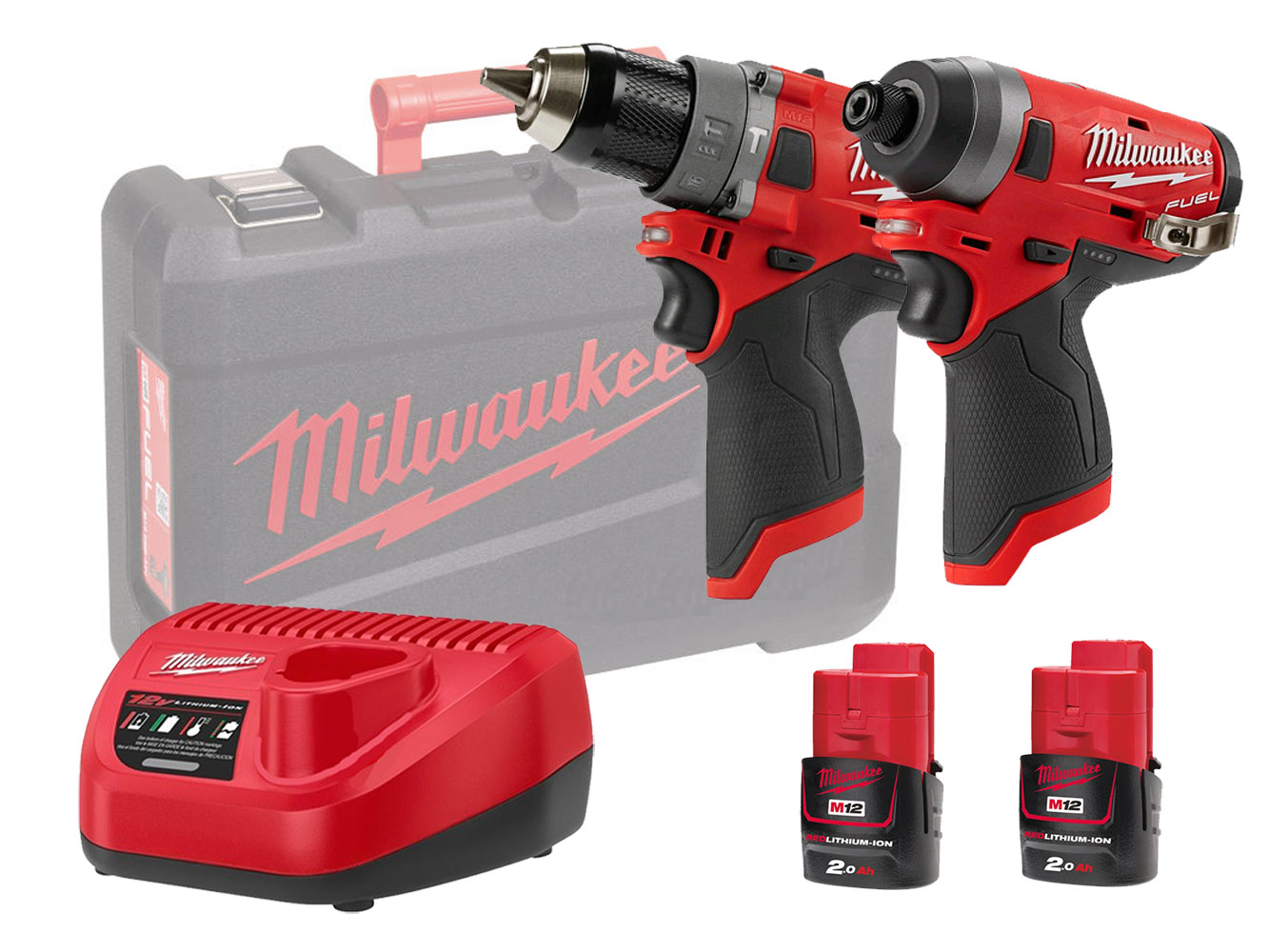 Milwaukee M12FPP2A 12V Fuel M12FID Impact Driver & M12FPD Combi Drill Twin Pack - 2.0Ah Kit