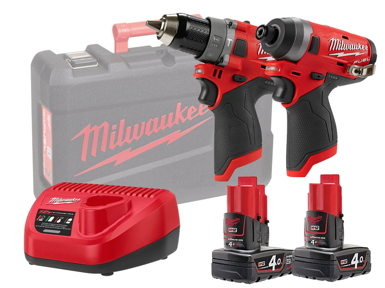 Milwaukee M12FPP2A 12V Fuel M12FID Impact Driver & M12FPD Combi Drill Twin Pack - 4.0Ah Kit