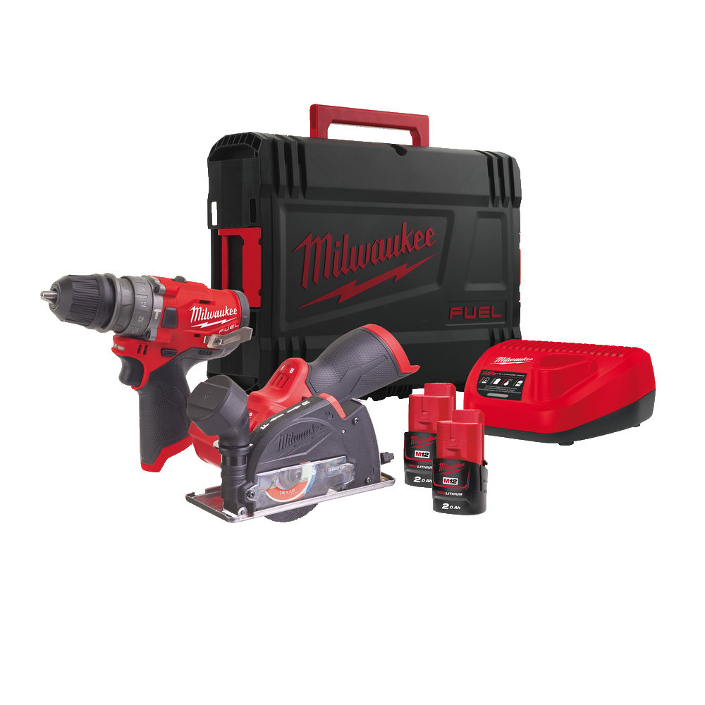 Milwaukee M12FPP2G-202X - M12FPDXKIT 4-in-1 Tool & M12FCOT Cut Off Tool - 2.0ah Pack