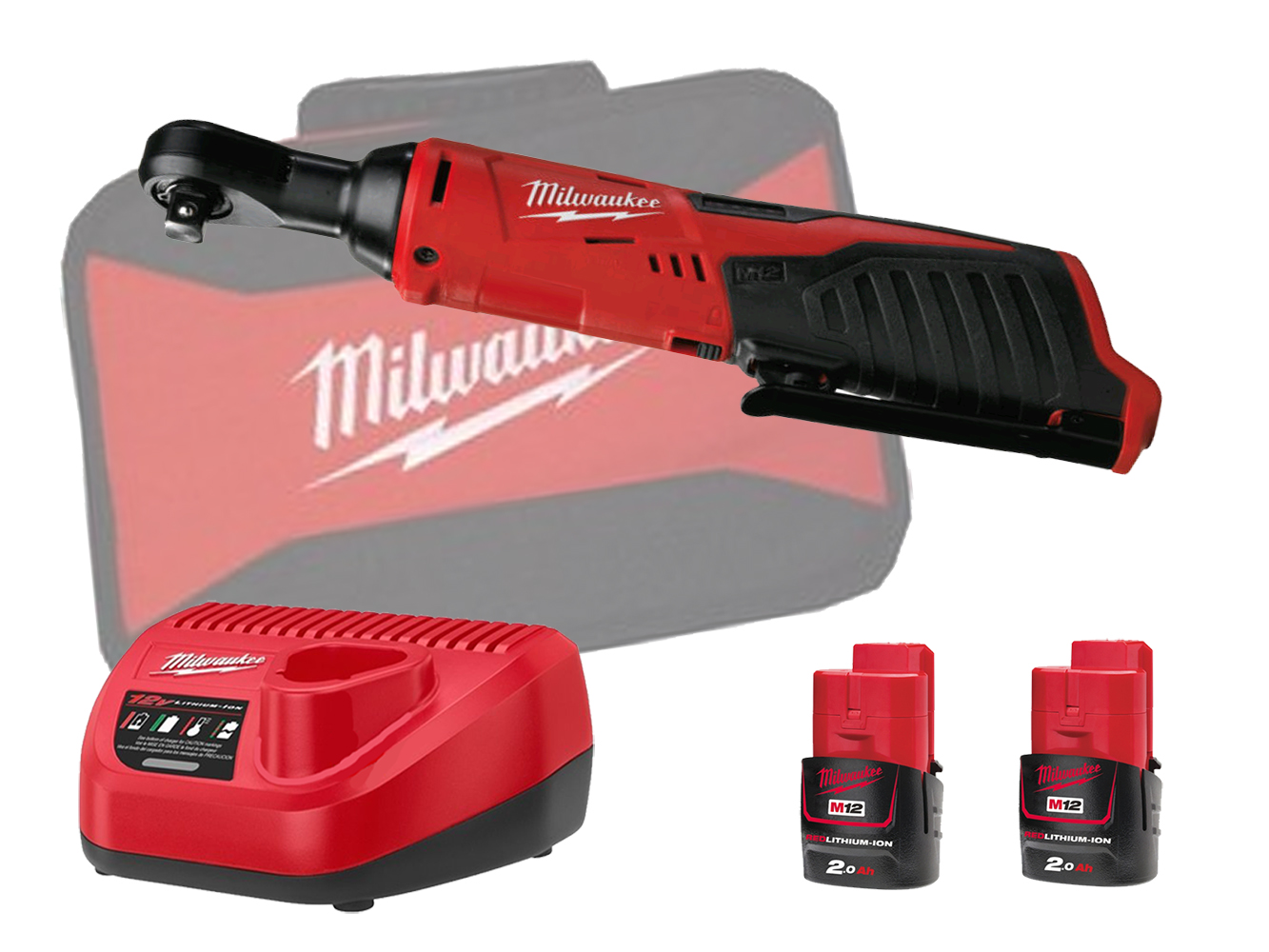 Milwaukee M12IR38 12V 3/8in Angled Impact Ratchet & 1/4in Adapter - 2.0Ah Pack