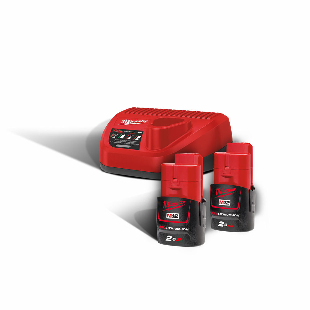 Milwaukee M12NRG-202 M12B2 12V 2.0ah Lithium-Ion Batteries (x2) & C12C Charger Pack