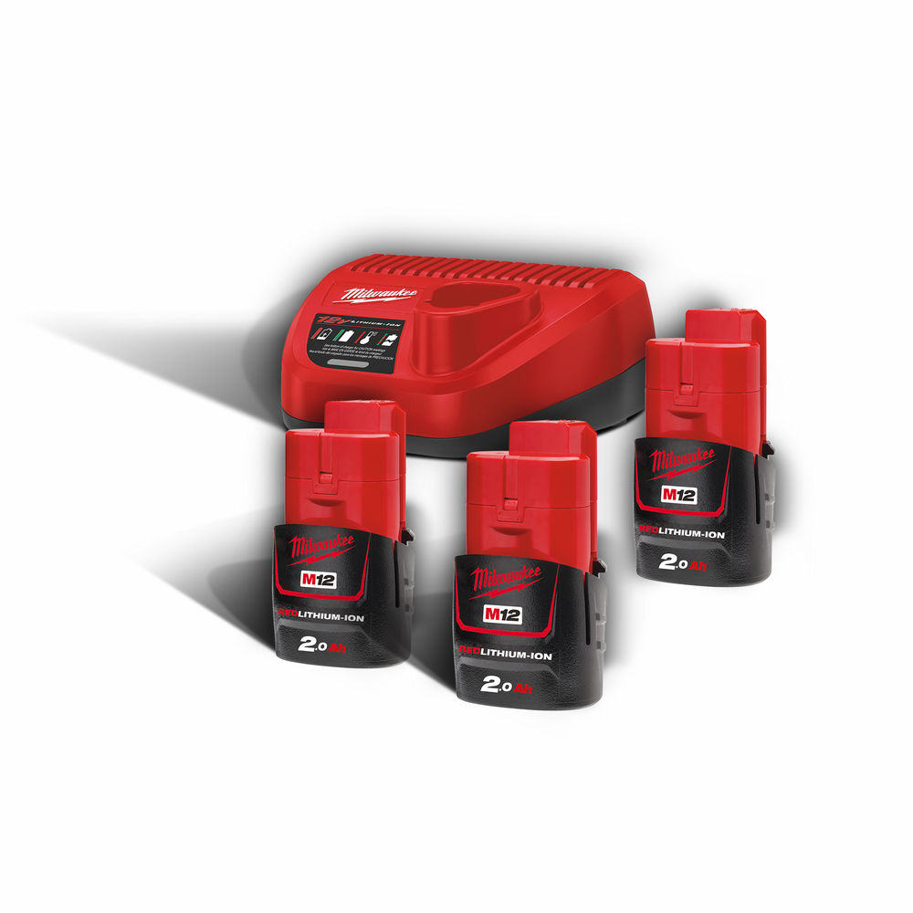 Milwaukee M12NRG-203 M12B2 12V 2.0ah Lithium-Ion Batteries (x3) & C12C Charger Pack