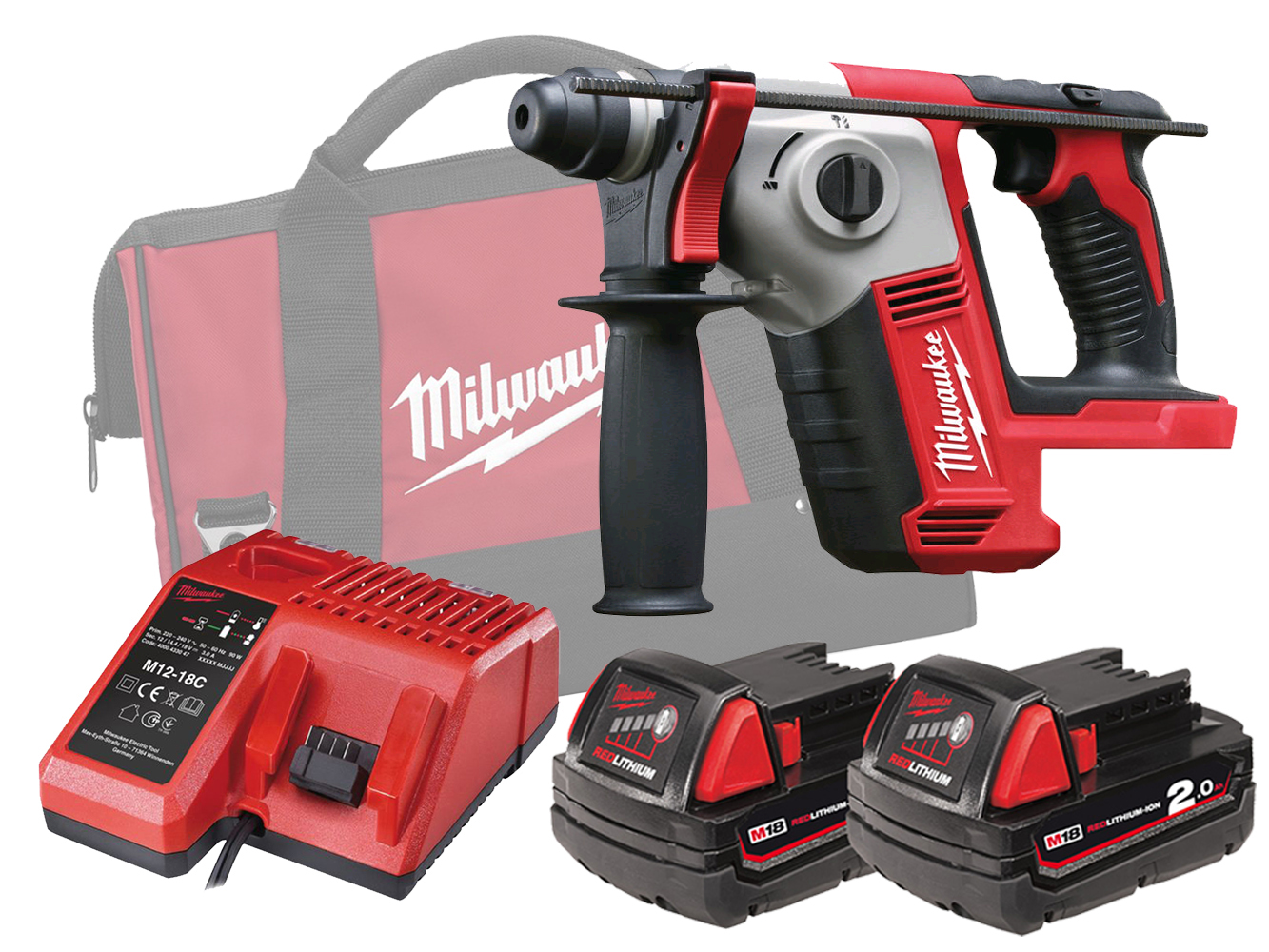 MILWAUKEE 18V COMPACT SDS+ 2 MODE ROTARY HAMMER - M18BH - 2.0AH PACK