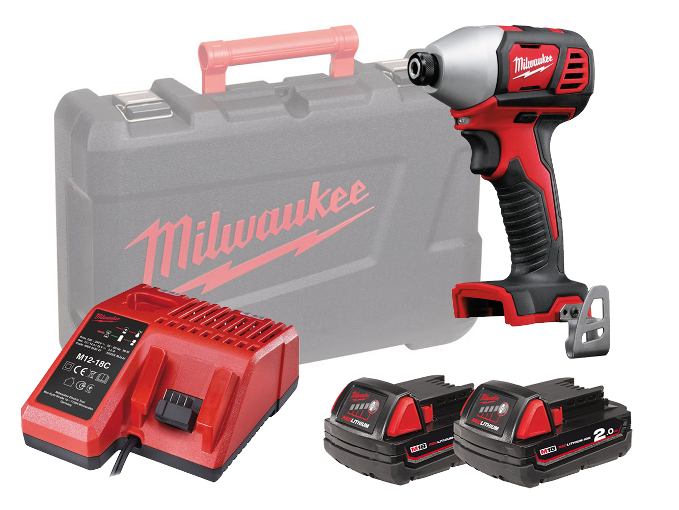 MILWAUKEE 18V BRUSHED IMPACT DRIVER - M18BID - 2.0AH PACK