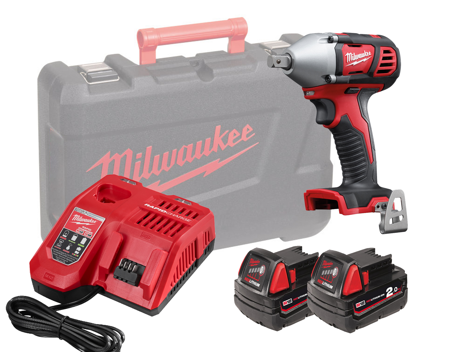 "MILWAUKEE 18V BRUSHED IMPACT WRENCH 1/2"" - M18BIW12 - 2.0AH PACK"