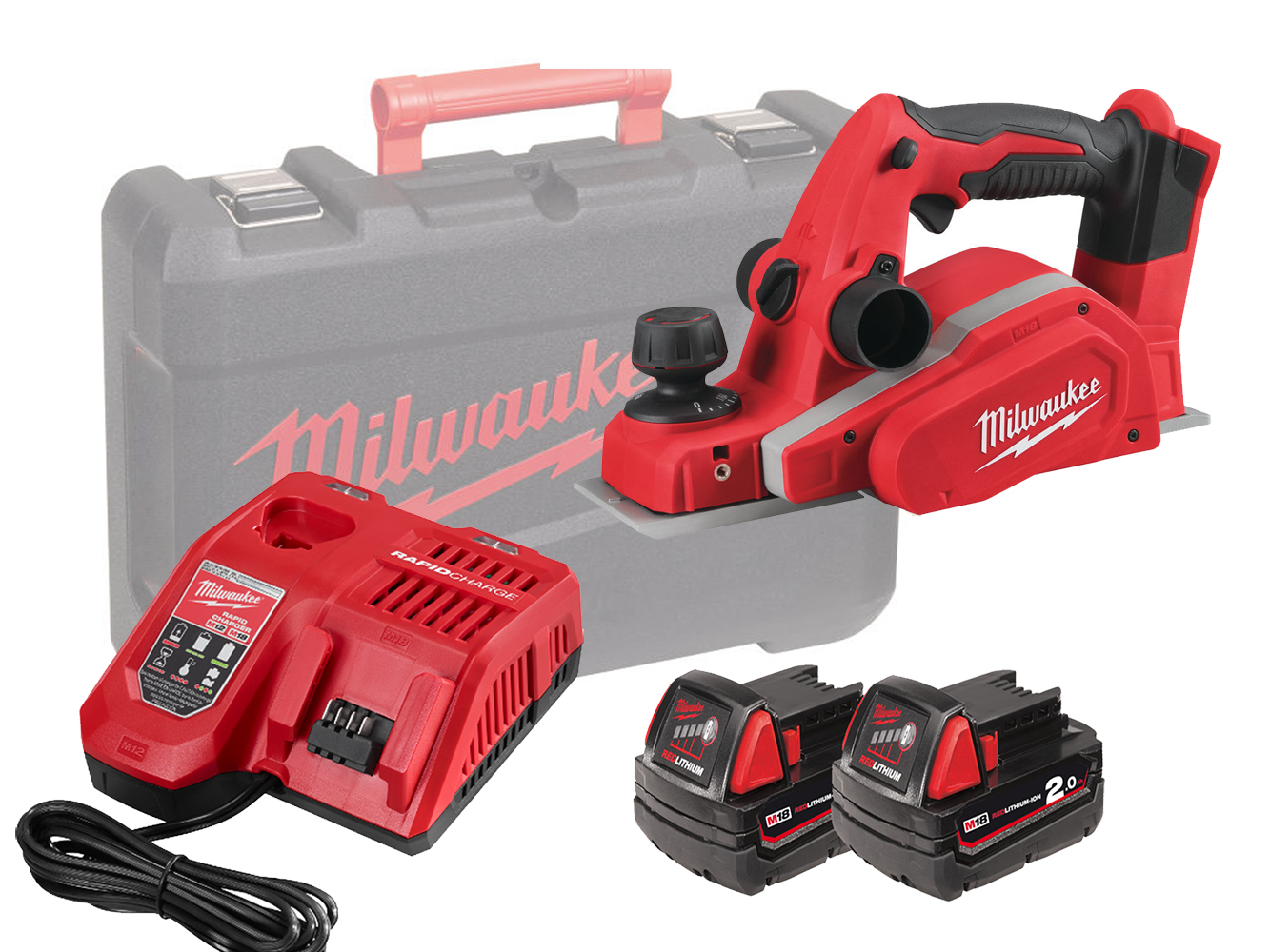 MILWAUKEE 18V PLANER & DUST BAG - M18BP - 2.0AH PACK