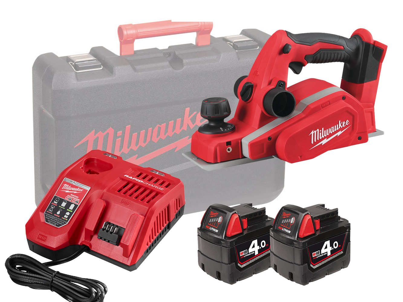 Milwaukee M18BP 18V Planer & Dust Bag - 4.0Ah Pack