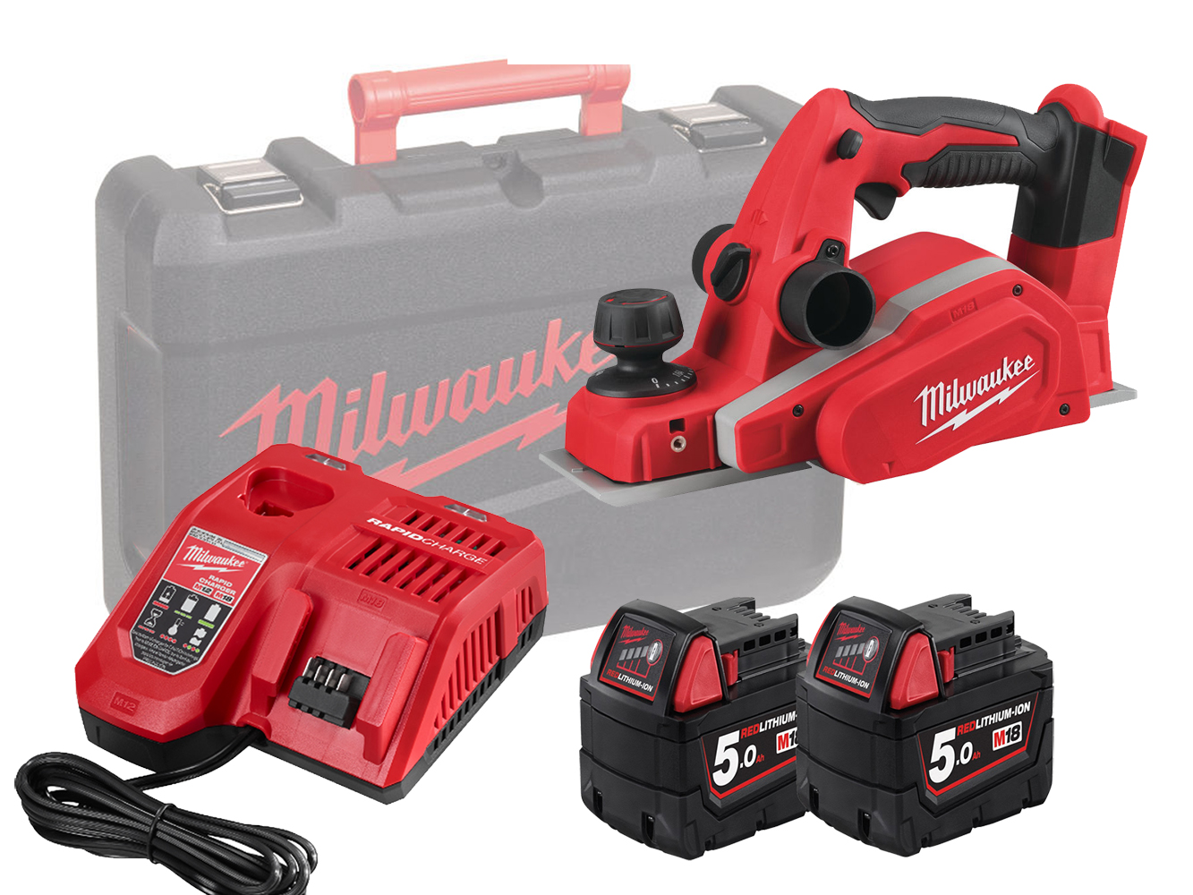 MILWAUKEE 18V PLANER & DUST BAG - M18BP - 5.0AH PACK