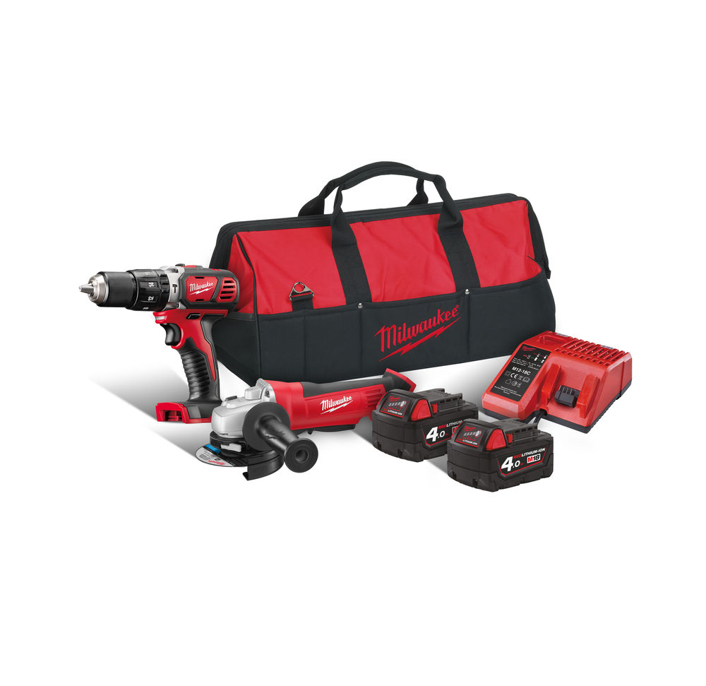 MILWAUKEE 18V BRUSHED COMBI AND ANGLE GRINDER TWIN PACK - M18BPP2O - 4.0AH PACK