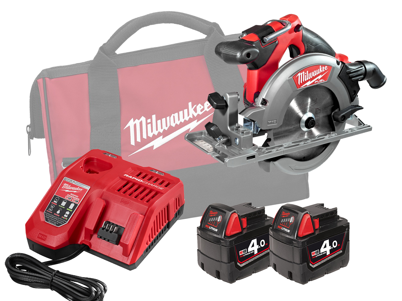 Milwaukee M18CCS55 18V Fuel 165mm (55mm) Circular Saw for Wood and Plastics - 4.0Ah Pack