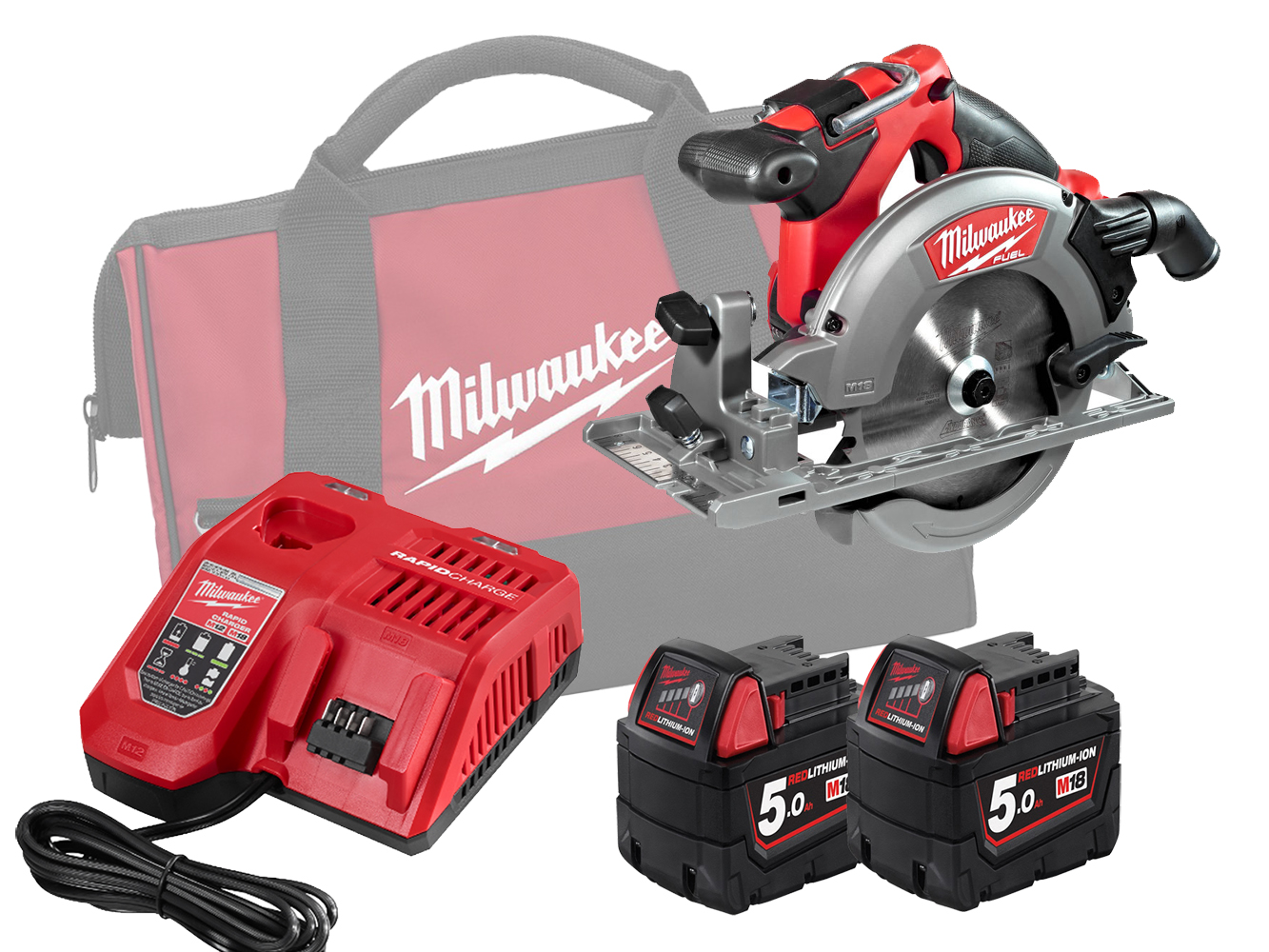 Milwaukee M18CCS55 18V FUEL 165mm (55mm) Circular Saw for Wood and Plastics - 5.0ah Pack