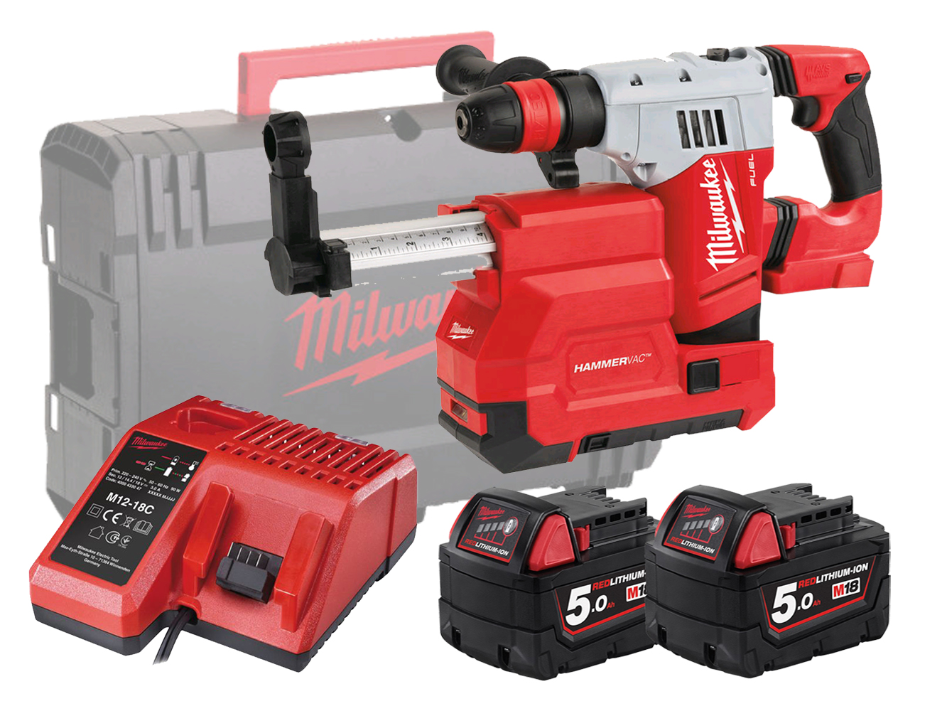 MILWAUKEE 18V FUEL SDS+ HAMMER & DUST EXTRACTOR - M18CHPXDE - 5.0AH PACK
