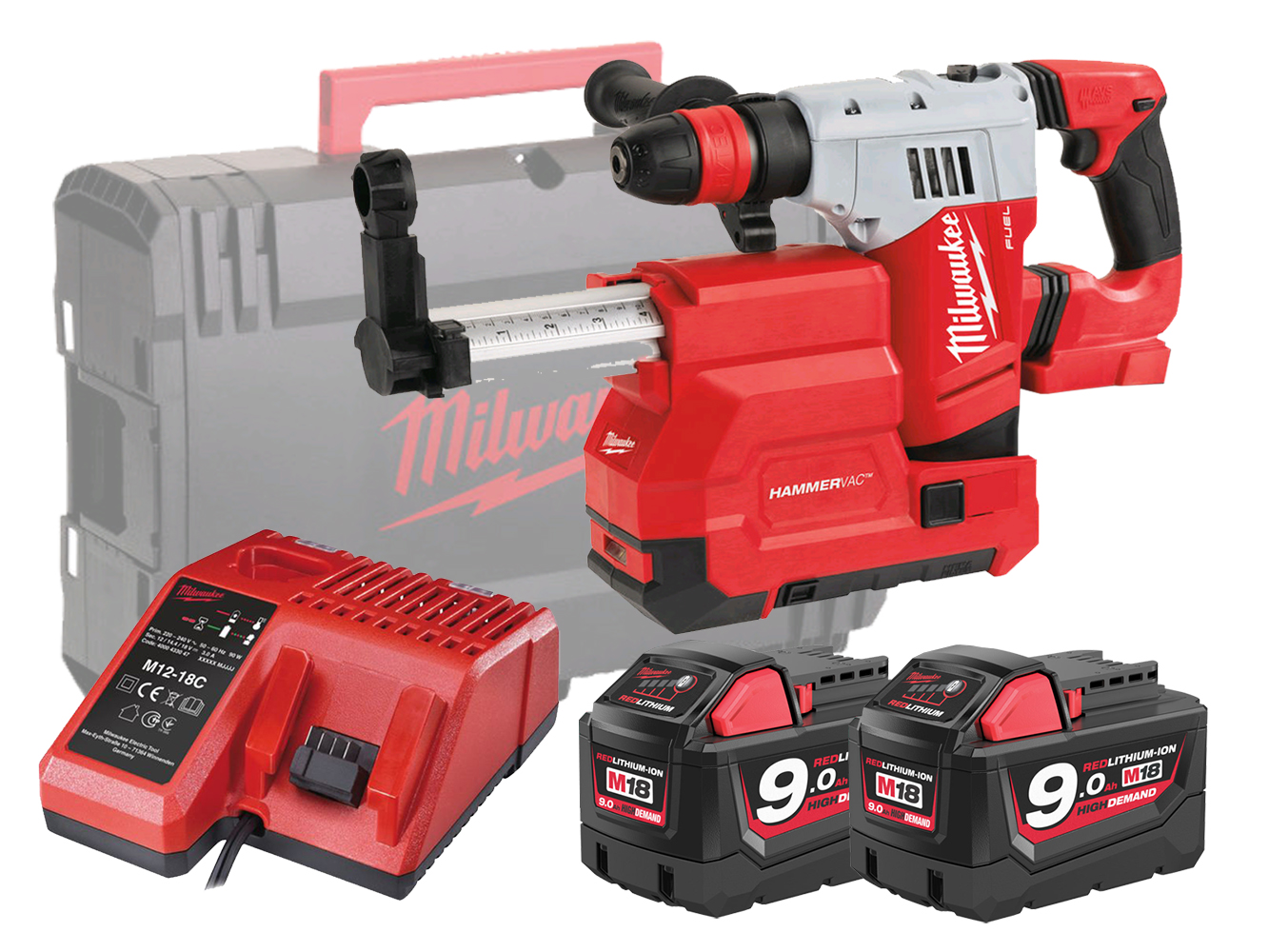 MILWAUKEE 18V FUEL SDS+ HAMMER & DUST EXTRACTOR - M18CHPXDE - 9.0AH PACK