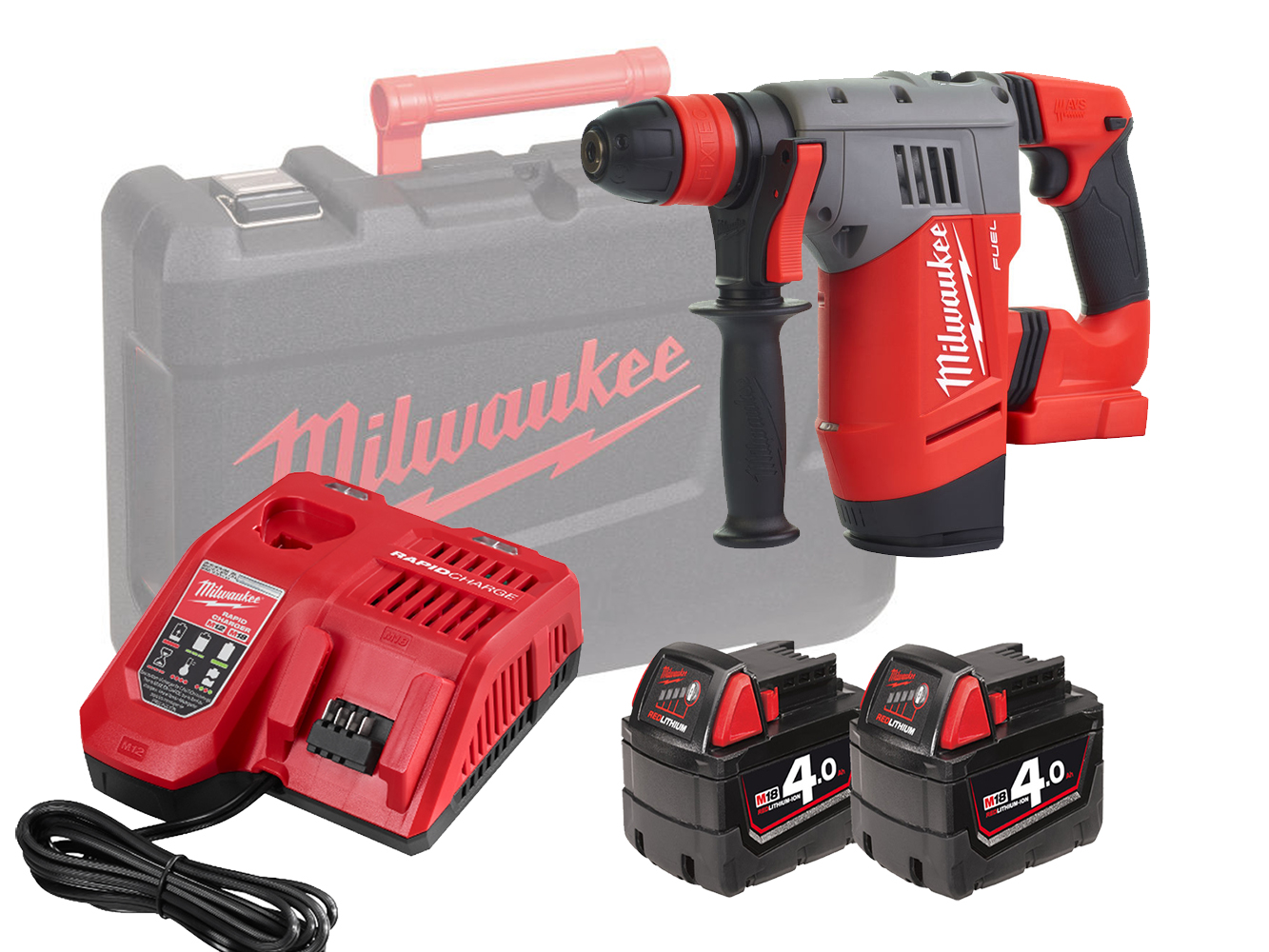 MILWAUKEE 18V FUEL HIGH PERFORMANCE SDS+ HAMMER - M18CHPX - 4.0AH PACK