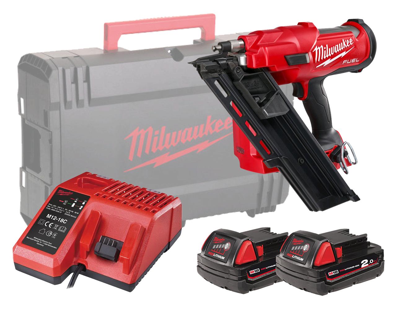 Milwaukee M18FFN 18V Fuel Framing Nailer (1St Fix Nail Gun) Gasless - 2.0Ah Pack