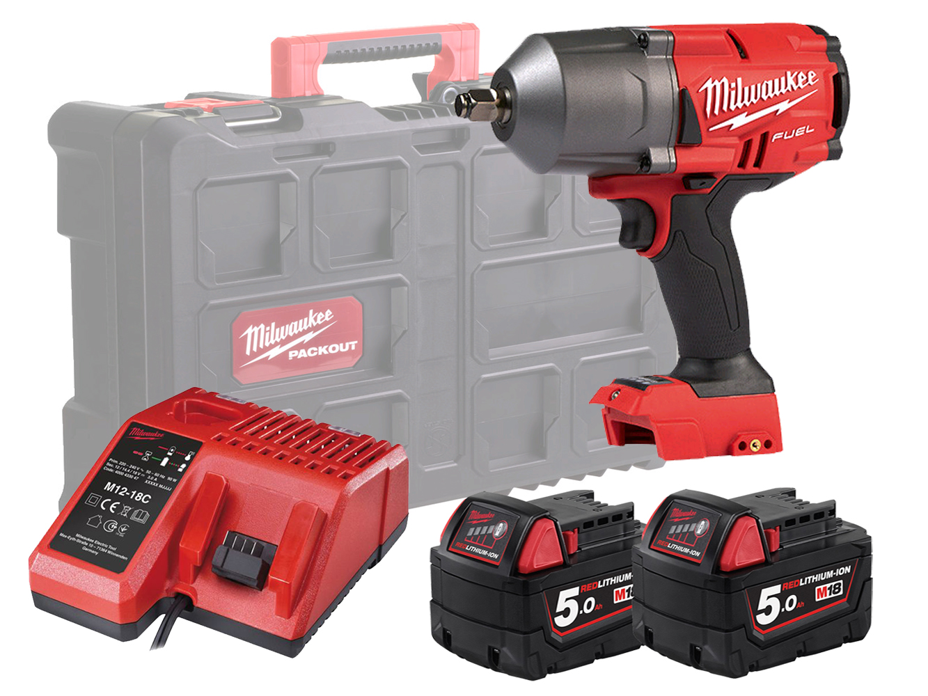 Milwaukee M18FHIWF12 18V Fuel Brushless 1/2In High Torque Wrench - 5.0Ah Pack & Packout