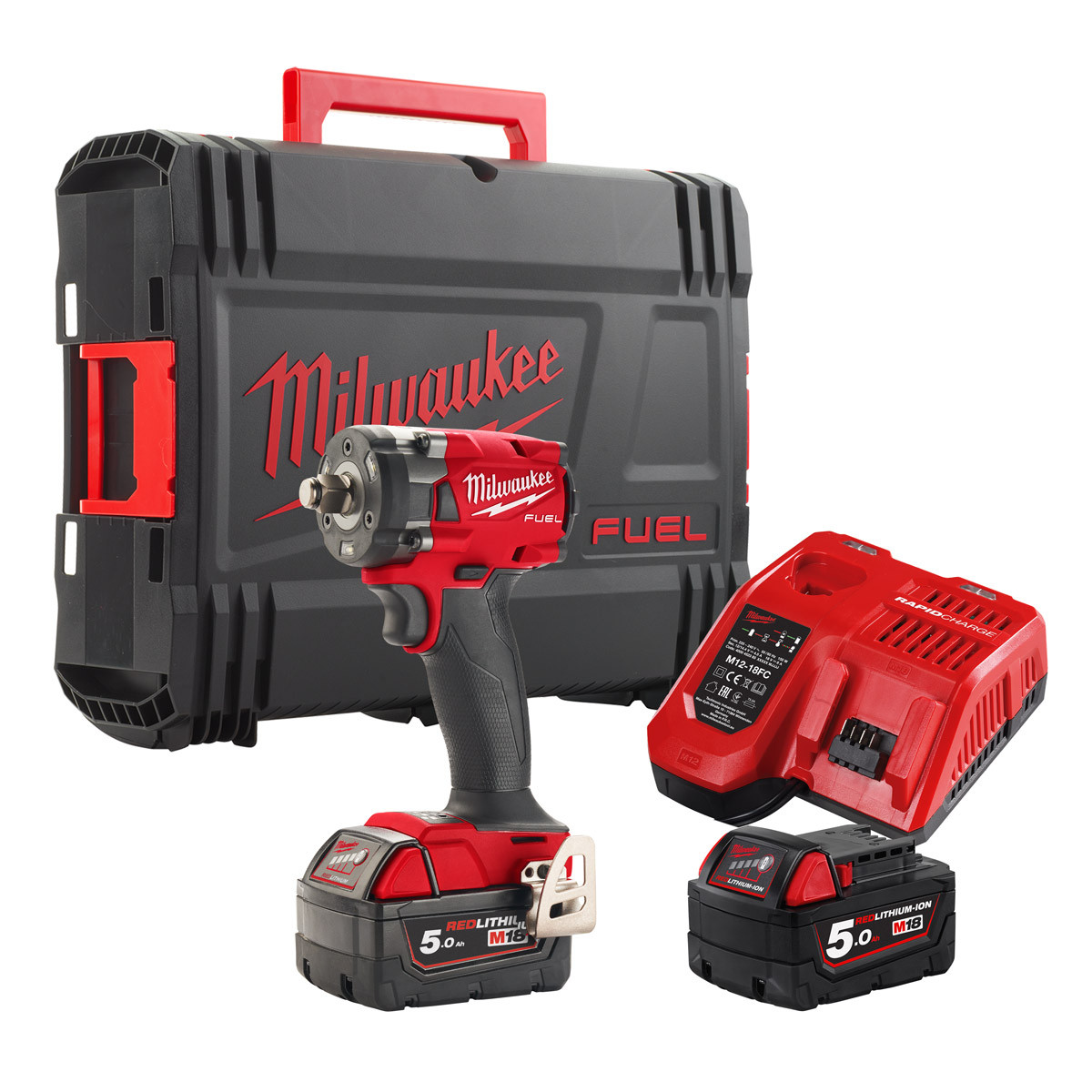 Milwaukee M18FIW2F12 18V Fuel Brushless 2nd Gen 1/2in Impact Wrench - 5.0ah Pack
