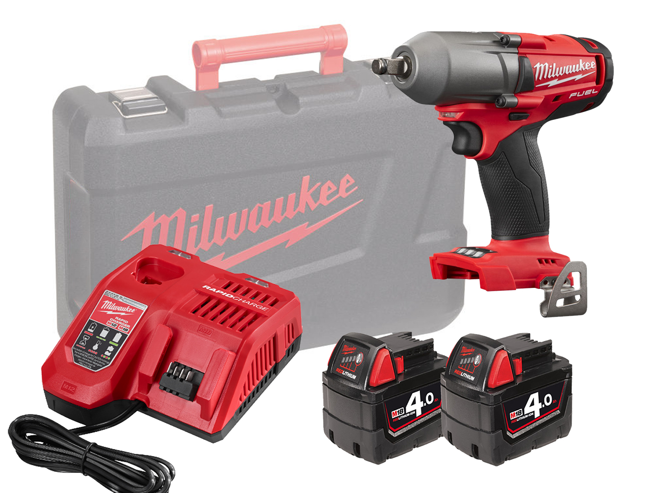 Milwaukee M18FMTIWF12 18V 1/2In Mid Torque Impact Wrench - 4.0Ah Pack
