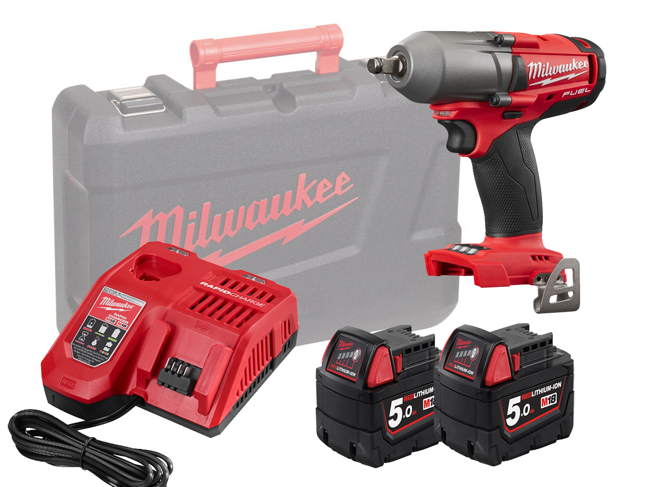 Milwaukee M18FMTIWF12 18V 1/2In Mid Torque Impact Wrench - 5.0Ah Pack