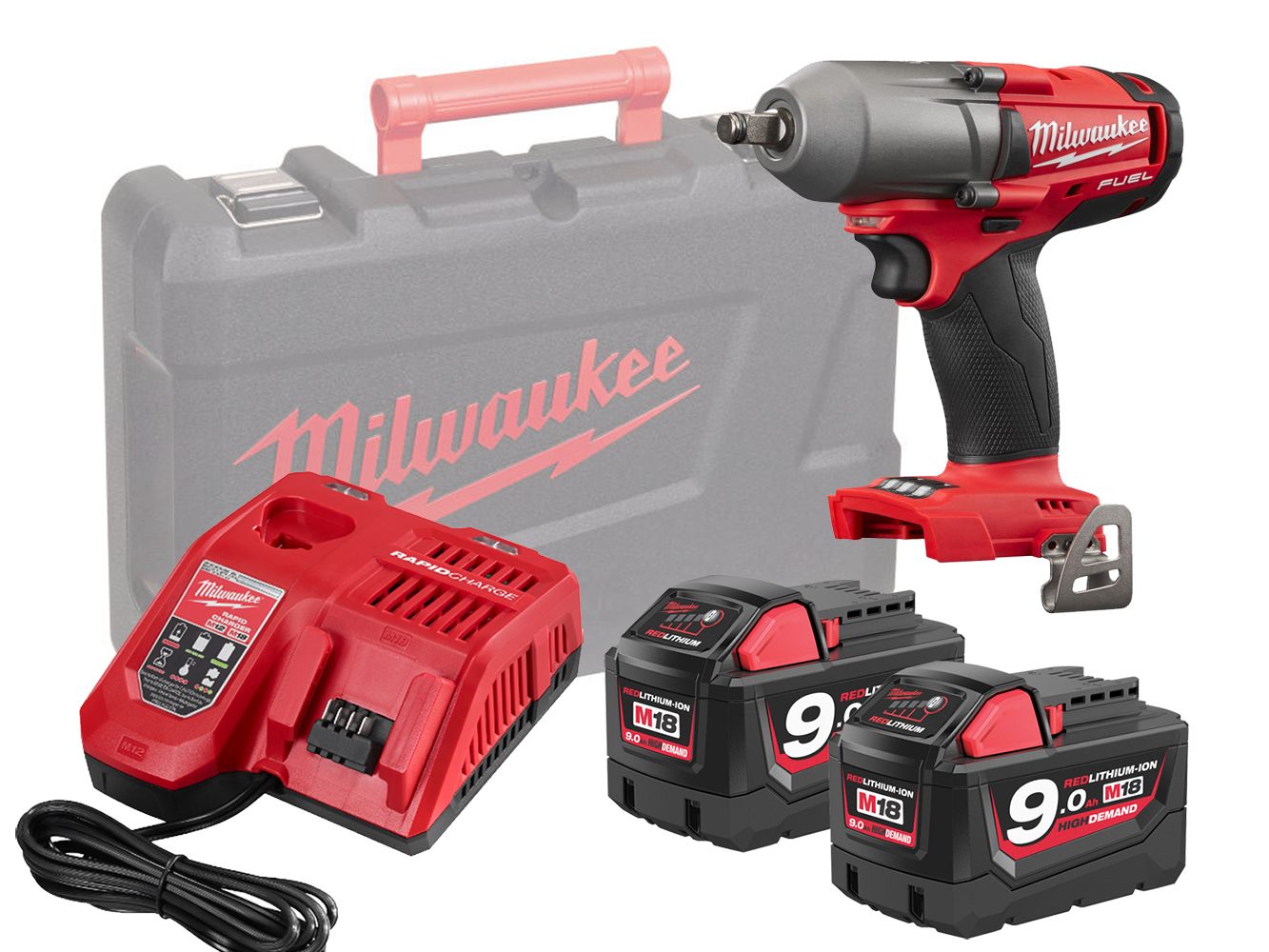 Milwaukee M18FMTIWF12 18V 1/2In Mid Torque Impact Wrench- 9.0Ah Pack