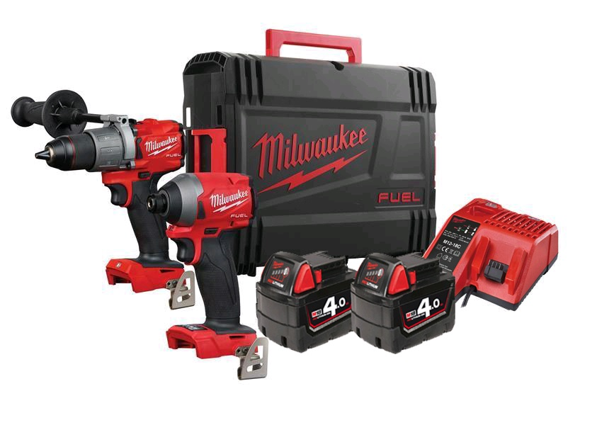 Milwaukee M18FPP2A2-402X 18V Fuel Brushless Combo Kit - M18FPD2 Combi Drill & M18FID2 Impact Driver - 4.0Ah Pack
