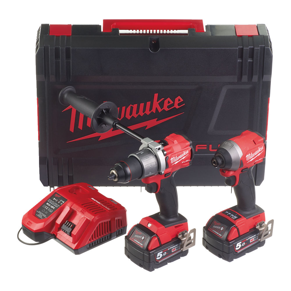 Milwaukee M18FPP2A2-502X 18V Fuel Brushless Combo Kit - M18FPD2 Combi Drill & M18FID2 Impact Driver - 5.0Ah Pack