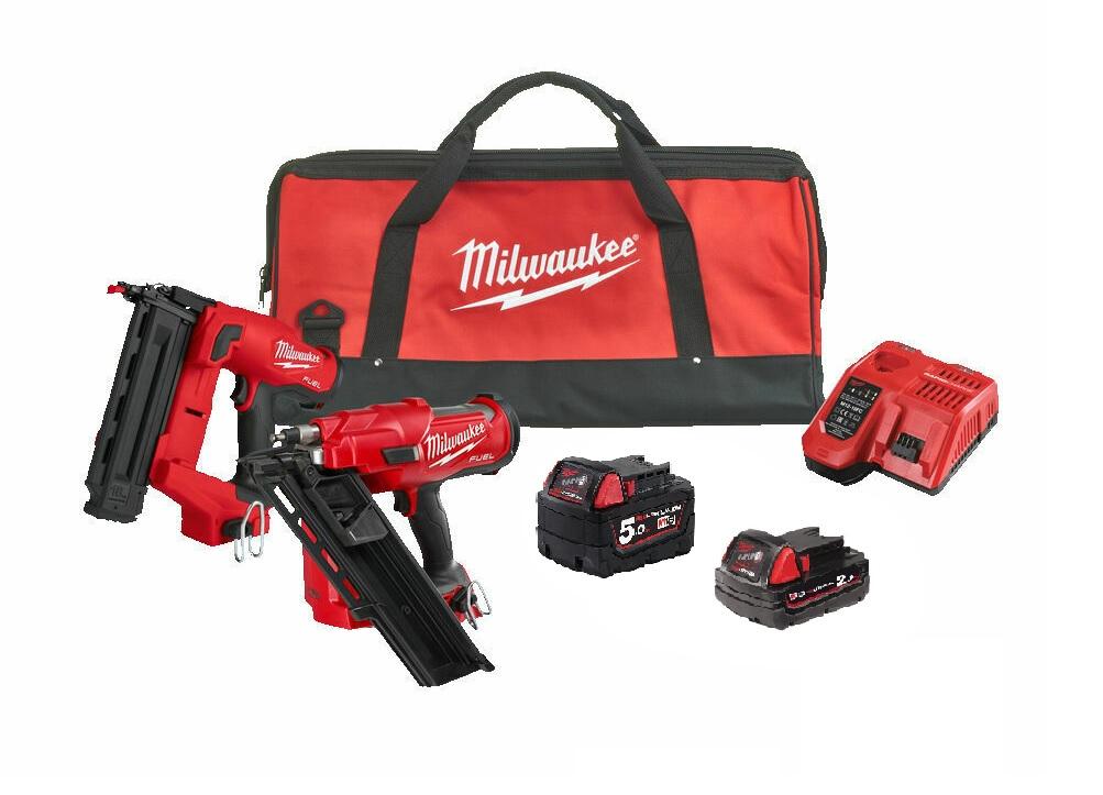 Milwaukee 18V Fuel Brushless 1st Fix & 2nd Fix Nail Gun Kit - 5.0ah / 2.0ah Kit