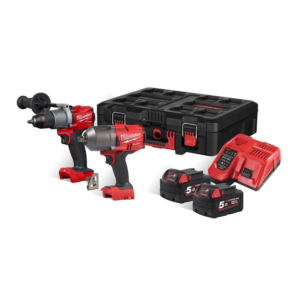 Milwaukee M18FPP2I2-502P 18V Fuel Brushless Combi & Impact Wrench Pack (M18FPD2 & M18FHIWF12) - 5.0Ah Packout Kit
