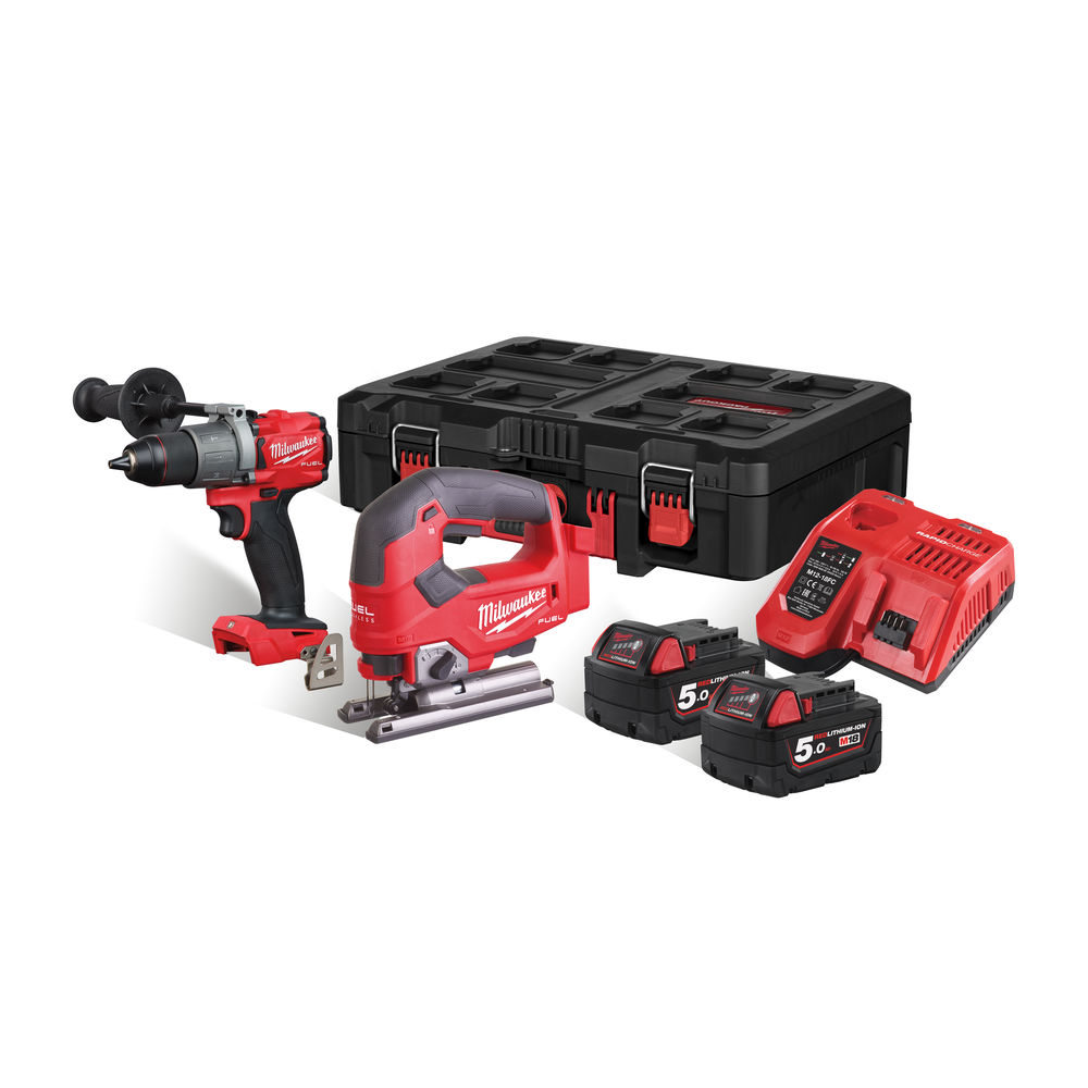 MILWAUKEE 18V FUEL BRUSHLESS HEAVY-DUTY COMBI & JIGSAW - 5.0AH PACKOUT KIT