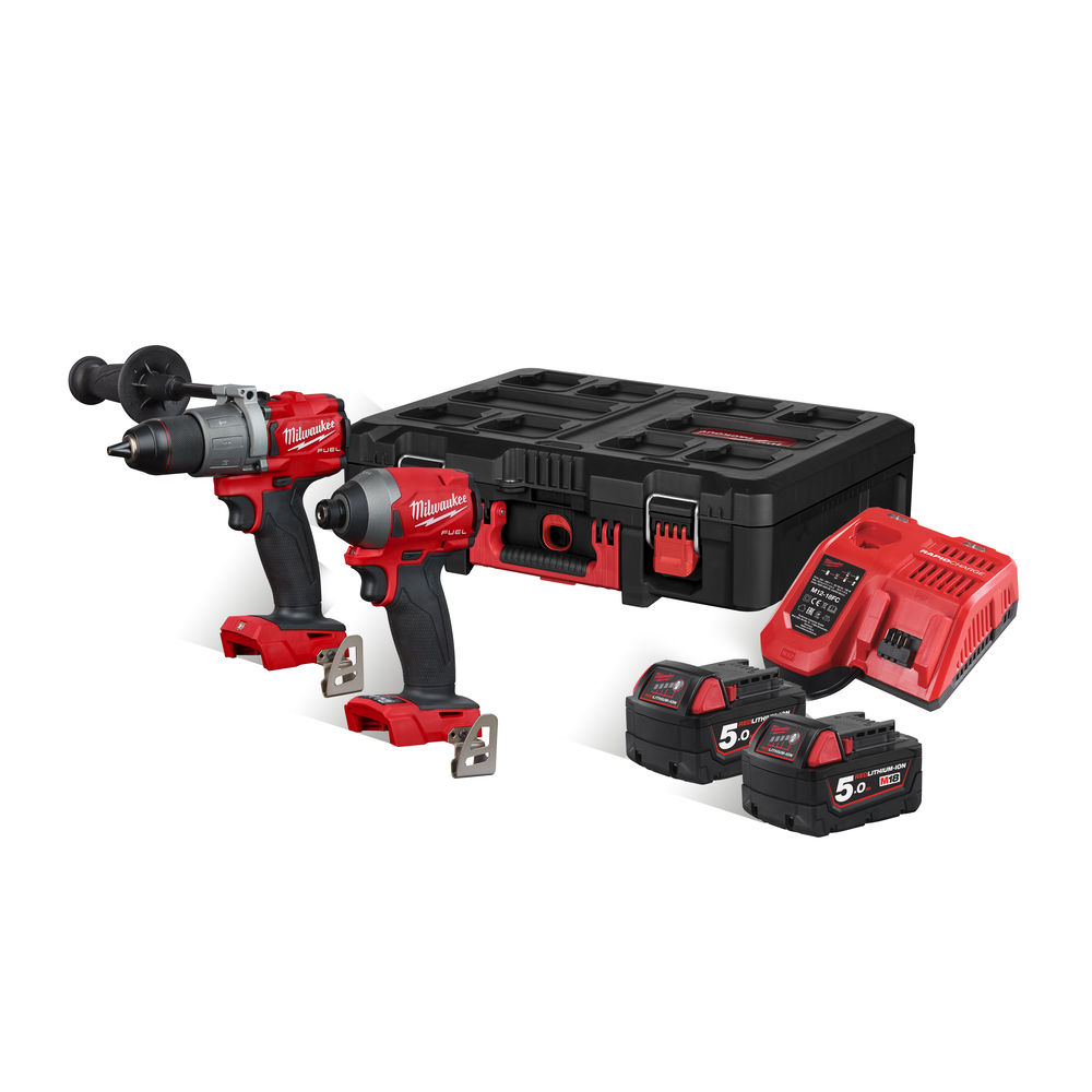 MILWAUKEE 18V FUEL BRUSHLESS HEAVY-DUTY COMBI & IMPACT - 5.0AH PACKOUT KIT