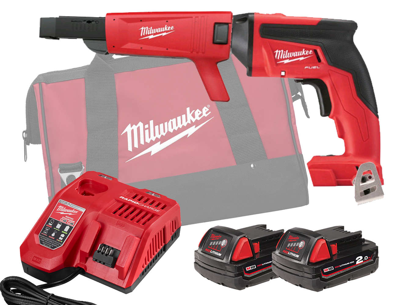 Milwaukee M18FSGC 18V Fuel Screw Gun With Collated Attachment - 2.0Ah Pack