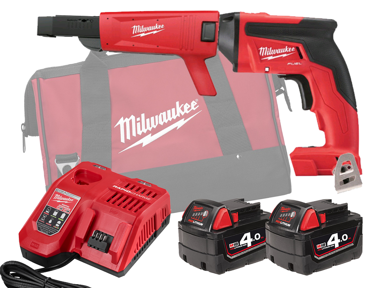 Milwaukee M18FSGC 18V Fuel Screw Gun With Collated Attachment - 4.0Ah Pack